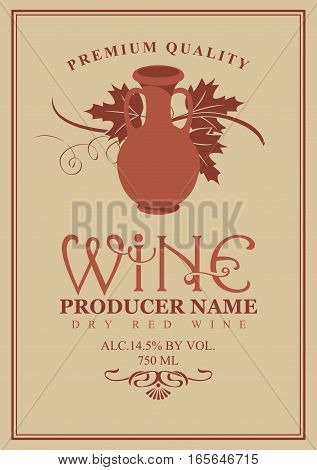 wine labels with jug clay and a vine