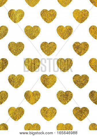 Golden hearts on a white background. The theme of love and Valentines Day. Beautiful festive shiny pattern. Rectangular vertical orientation