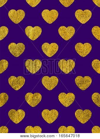 Golden hearts on a purple background. The theme of love and Valentines Day. Beautiful festive shiny pattern. Rectangular vertical orientation