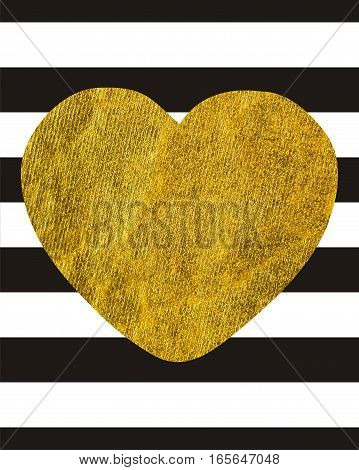 A large Golden heart on the background of horizontal wide black lines withcopy space Rectangular orientation Texture gold
