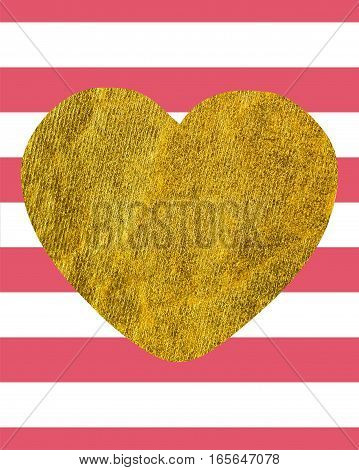 A large Golden heart on the background of horizontal wide pink-white lines with copy space The Theme of love and Valentines Day Idea for greeting card Rectangular orientation Texture gold