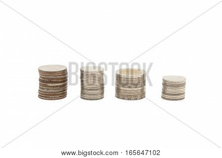 Coin stacks with any sze isolate on a white background