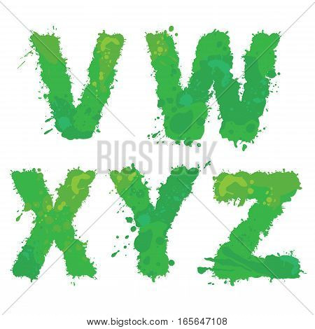 V W X Y Z Handdrawn english alphabet - letters are made of green watercolor ink splatter paint splash font. Isolated on white background.