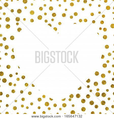 A large white heart on the background of small gold dots of different size with copy space The Theme of love and Valentines Day Idea for greeting card