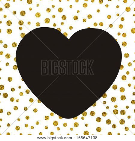 A large black heart on the background of small gold dots of different size with copy space The Theme of love and Valentines Day Idea for greeting card