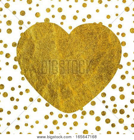 A large golden heart on the background of small gold dots of different size with copy space The Theme of love and Valentines Day Idea for greeting card