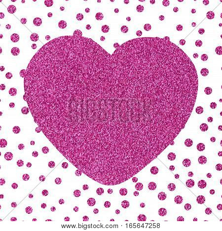 Shining glittery background with chaotic dots of different sizes and the big pink heart Theme and Valentine's Day Idea for greetings