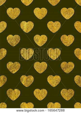 Golden hearts on a black background. The theme of love and Valentines Day. Beautiful festive shiny pattern. Rectangular vertical orientation
