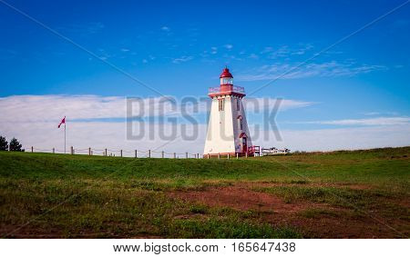Lighthouse on a hill in Souris prince edward island