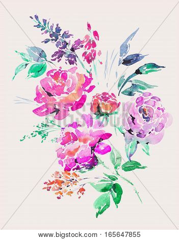 Bright watercolor floral bouquet in a la prima style, red watercolor roses - flowers, twigs, leaves, buds. Hand painted isolated vintage floral illustration