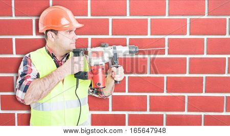 Busy Constructor Repairing Something With Drill Tool