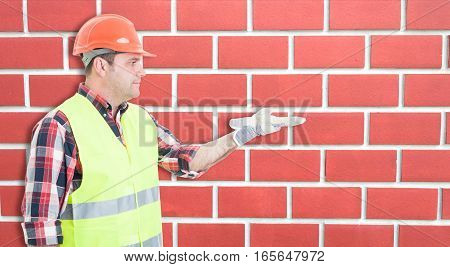 Construction Man Engineer Showing His Palm Open