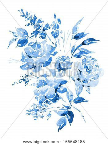 Abstract blue watercolor floral bouquet in a la prima style, blue watercolor roses - flowers, twigs, leaves, buds. Hand painted vintage floral illustration isolated on white background