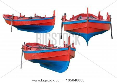 image of red boat isolated on white background