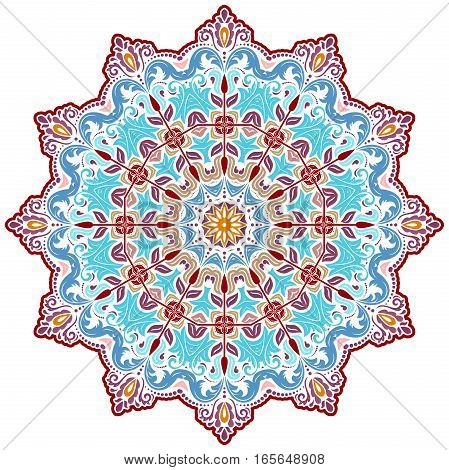 Oriental vector round colored pattern with arabesques and floral elements. Traditional classic ornament. Vintage pattern with arabesques