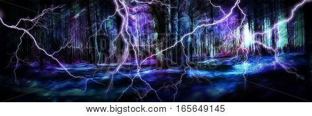 Fantasy 3D illustration magic forest in the storm