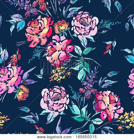 Abstract watercolor floral seamless pattern in a la prima style, red watercolor roses - flowers, twigs, leaves, buds. Hand painted vintage floral illustration on black background
