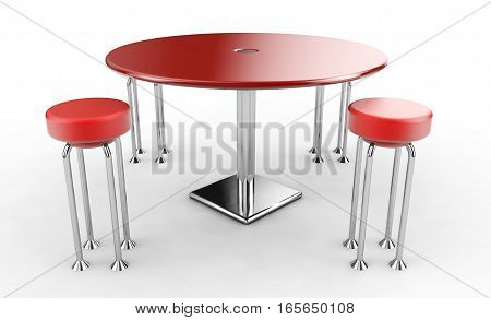 Modern red bar table with two chairs on white background. 3D rendered image.