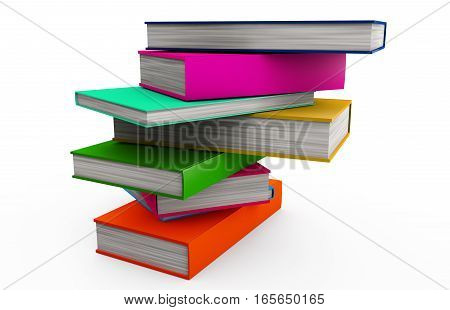 Stack of colorful books isolated on white 3d render