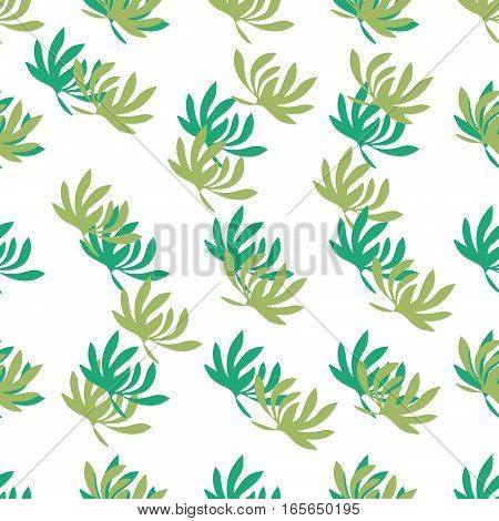 illustration of floral leaves ornamental background seamless pattern