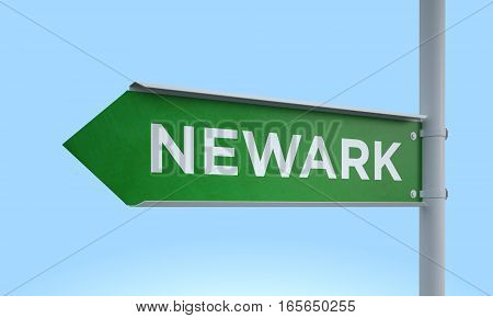 3d rendering Green signpost road information newark