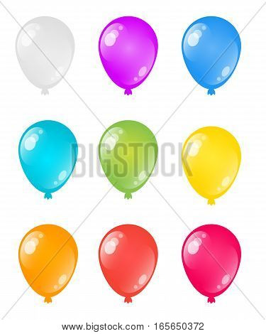 Set of colorful rainbow helium vector balloons isolated on white background.