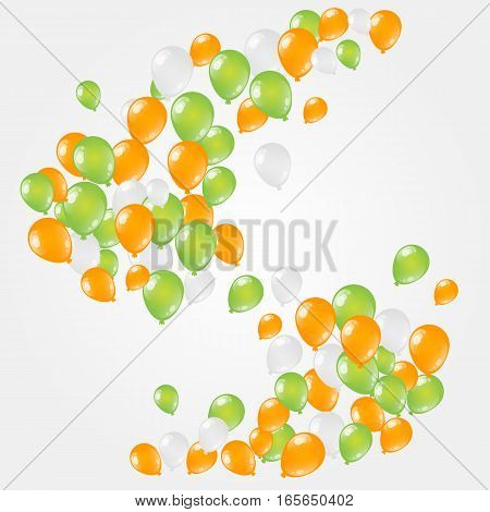 St. Patrick's Day helium orange, white and green balloons cloud.