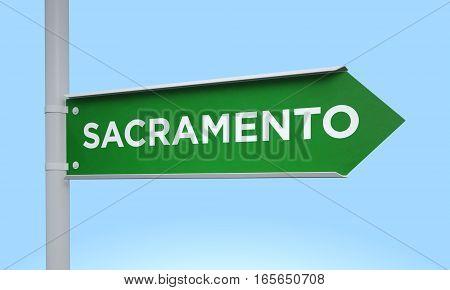 3d rendering Green signpost road information sacramento