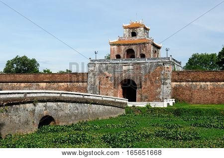 Emperor palace complex in Hue Vietnam. Main gate in the fort well
