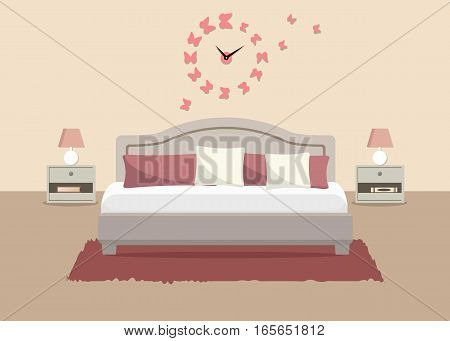 Bedroom in a beige color. There is a bed with pillows, bedside tables, lamps and other objects in the picture. There is also a big pink clock in a shape of butterflies on the wall. Vector illustration