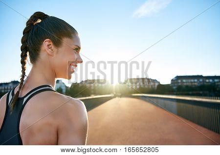 Athlete Looking Across Bridge With Copy Space