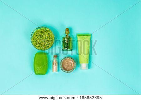Spa set: soap, mask, oil, sea salt. Top view Still life Copy space