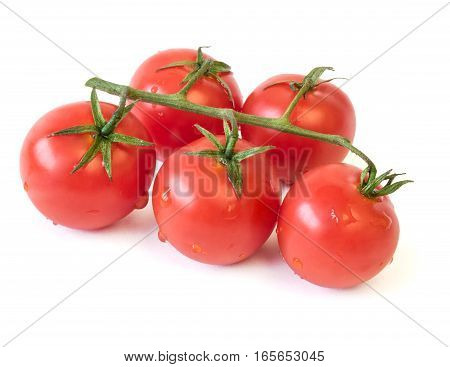 Fresh Cherry Tomatoes Isolated On White Background.