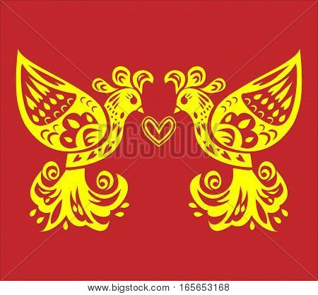 illustration of two yellow birds oriental symbol