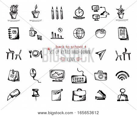 Hand-drawn sketch school tools icon set. Vector illustrations Black on white background