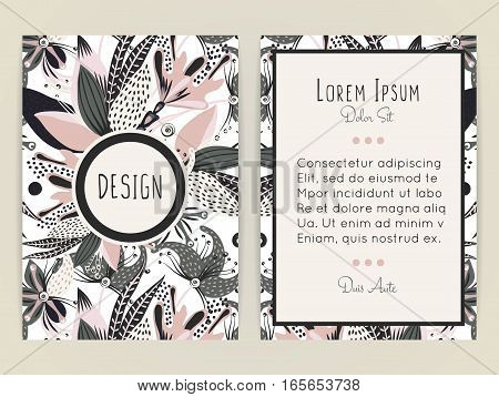Cover design with floral pattern. Hand drawn creative flower. Colorful artistic background with blossom. It can be used for invitation card cover book catalog. Size A4. Vector illustration eps10
