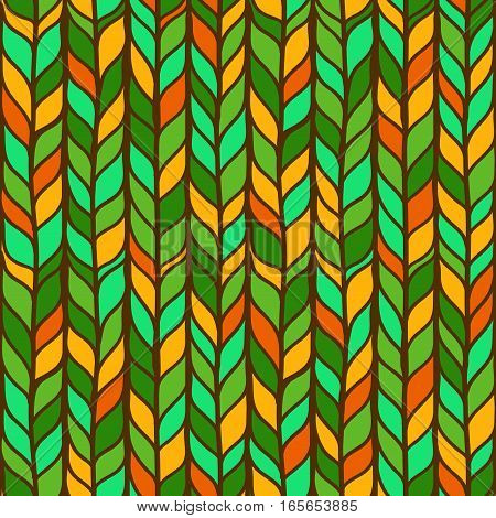 Seamless colorful pattern with hand drawn stylized doodle leaves