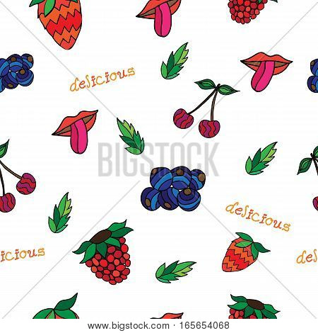 Seamless pattern with cherry leaf raspberry strawberry lips and tongue . Vector background comic style