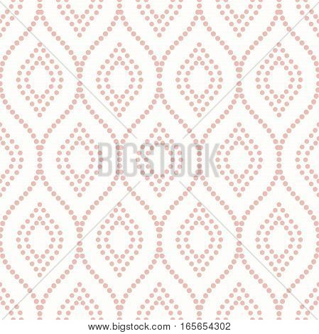 Seamless vector ornament. Modern background. Geometric pattern with repeating dotted wavy pink lines