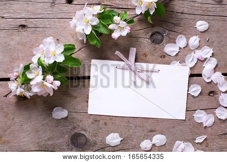 Empty tag and tender apple tree flowers on aged vintage wooden background. Selective focus is on tag. Place for text. Top view. Flat lay.