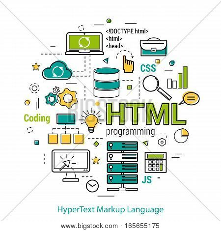 Vector Line Art Concept of html. Round banner for coding and web programming in blue. green and yellow colors