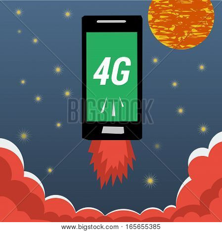 Vector banner smart mobile phone with 4G internet flying in night sky with stars and moon and flames from the bottom. Illustration in flat style