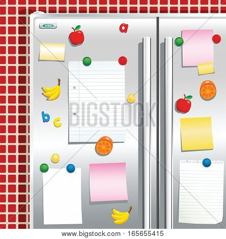 An illustration of a silver fridge freezer and note papers. Plenty of space for your own messages.