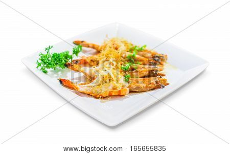 asian seafood fried prawn with garlic in white plate isolated on white background selected focus