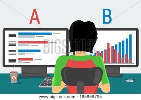 Vector woman working on internet using computer and two monitors and drinking coffee. Concept work at home, freelance, split testing a-b comparison, programming in flat style. Back view