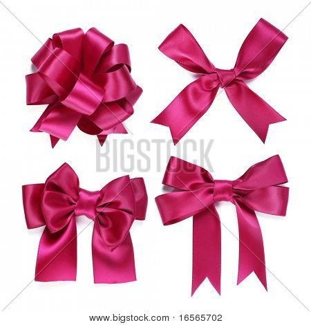 Collection of purple bow on white