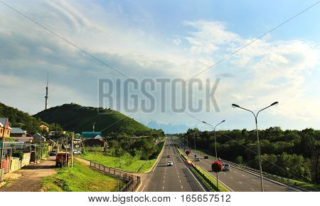 Almaty, Kazakhstan, view to the Eastern Bypass Highway and Kok-Tobe from bridge