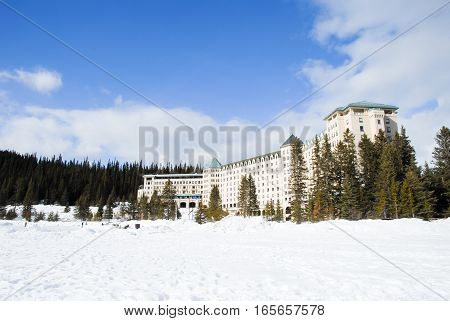 Hotel at the Side of Lake Louise in Winter Banff National Park Canadian Rockies
