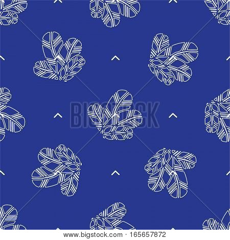 bunch of Feathers seamless pattern outline on blue