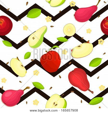 Seamless vector pattern of ripe pear, apple fruit. Striped zig zag background with delicious juicy pear apple slice half. Vector fruits Illustration for printing on fabric textile, packaging